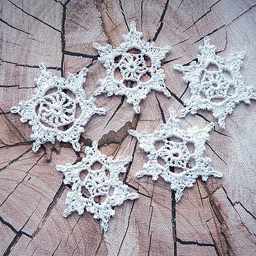 Сувениры и подарки ручной работы. Ярмарка Мастеров - ручная работа Снежинки набор (5 штук) белые. Handmade.