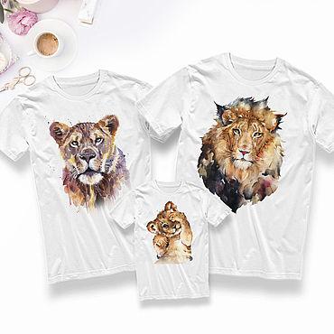 Одежда ручной работы. Ярмарка Мастеров - ручная работа Family look футболки с принтом Львы. Handmade.