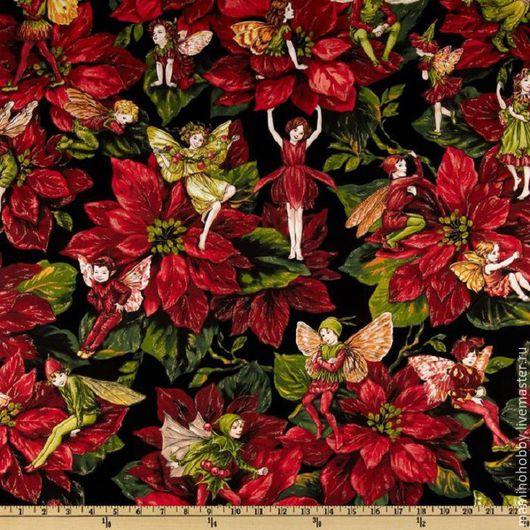 Шитье ручной работы. Ярмарка Мастеров - ручная работа. Купить Новогодняя ткань для пэчворка Феи рождества. Handmade. Пэчворк