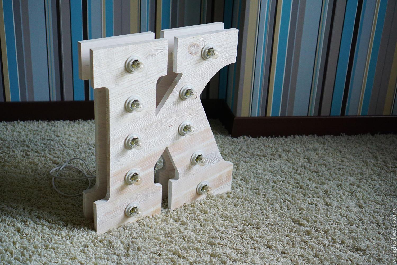 Буквы с лампочками своими руками из дерева 39