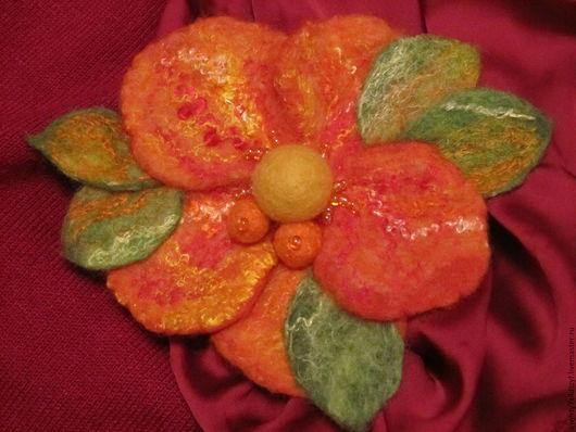 """Броши ручной работы. Ярмарка Мастеров - ручная работа. Купить Брошь """"Оранжевое настроение"""". Handmade. Комбинированный, подарок"""