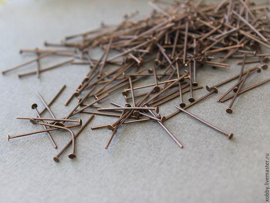Пины гвоздик Медь 24 мм 30 гр Fe Пины длиной 24 мм с шляпкой гвоздик из сплава железа и покрытием цвета медь Используются для сборки украшений  Пины продаются лотом, на вес по 30 грамм - около 270