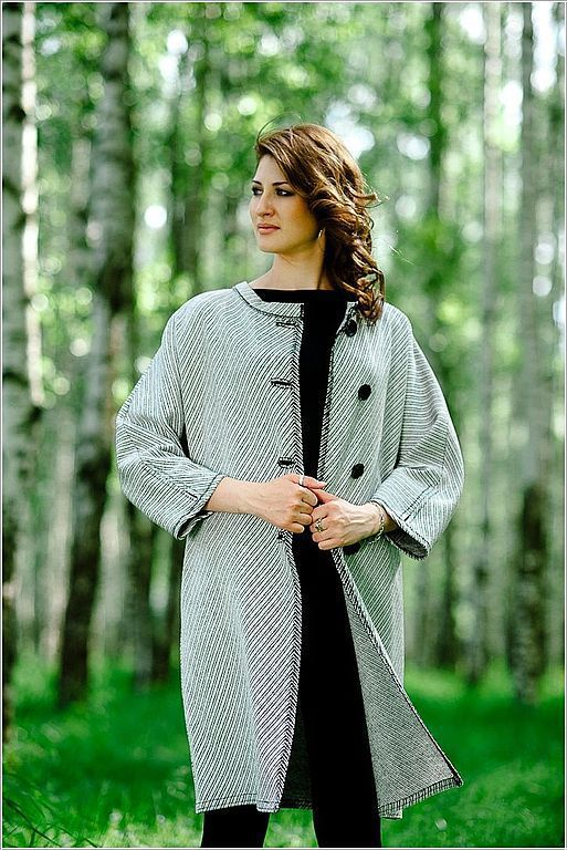 Верхняя одежда ручной работы. Ярмарка Мастеров - ручная работа. Купить Пальто из легкого драпа. Handmade. В полоску, пальто