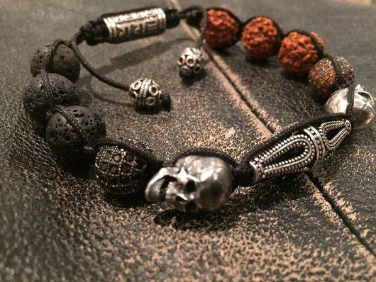 Браслеты ручной работы. Ярмарка Мастеров - ручная работа. Купить Браслет из натуральных камней .серебряный браслет. Браслет с черепами. Handmade.