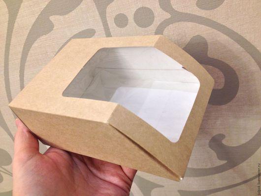 Упаковка ручной работы. Ярмарка Мастеров - ручная работа. Купить Коробка 13х9х5, с прозрачным верхом, скошенный край, эко, крафт. Handmade.