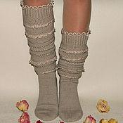Аксессуары handmade. Livemaster - original item Socks-socks high woolen with lace. Handmade.