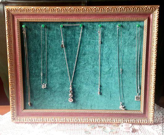 Рамка для украшений, багет, зеленый бархат, 38х48х3