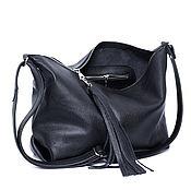 Сумки и аксессуары handmade. Livemaster - original item Crossbody Black Leather Crossbody Bag with Shoulder Strap. Handmade.