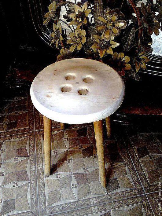 Мебель ручной работы. Ярмарка Мастеров - ручная работа. Купить пуговица-табуретка. Handmade. Рыжий, сосновая тетива