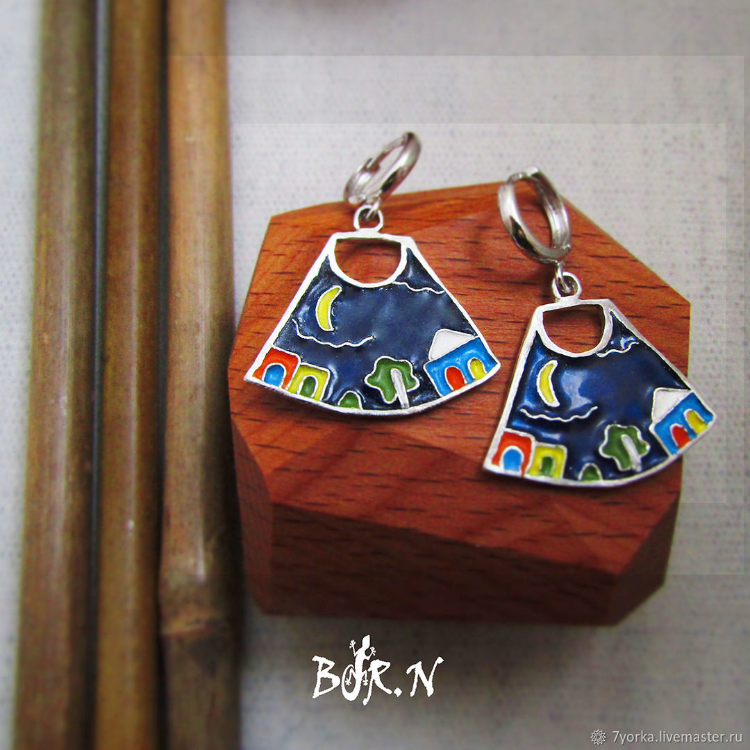 Silver earrings with enamel, Earrings, St. Petersburg,  Фото №1