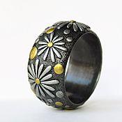 Украшения handmade. Livemaster - original item A wide bracelet made of polymer clay Daisies. Handmade.