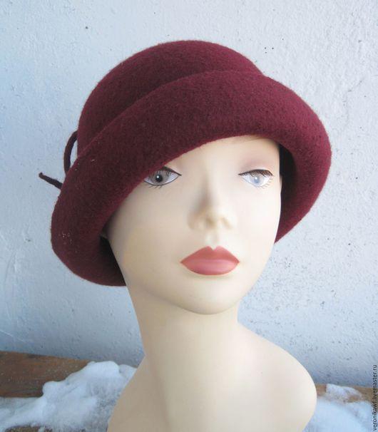 """Шляпы ручной работы. Ярмарка Мастеров - ручная работа. Купить Шляпа валяная """"Burgundy"""". Handmade. Бордовый, шляпа женская"""