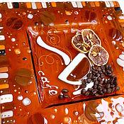 Посуда ручной работы. Ярмарка Мастеров - ручная работа фьюзинг, блюдо  из стекла,  Утренний кофе. Handmade.