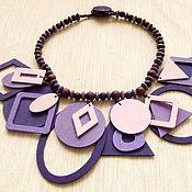 """Украшения handmade. Livemaster - original item Wooden necklace """"Three Shades of Purple"""". Handmade."""