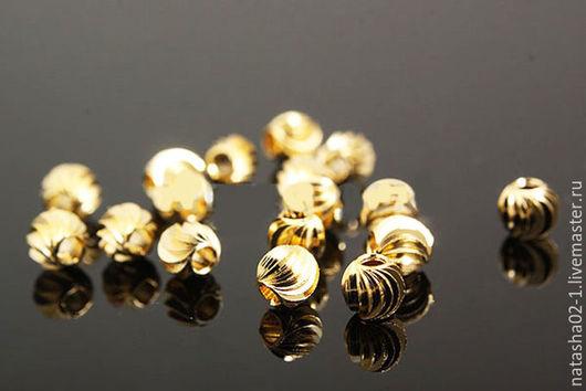 Для украшений ручной работы. Ярмарка Мастеров - ручная работа. Купить Бусины витые 4 мм Gold plated  Южная Корея. Handmade.