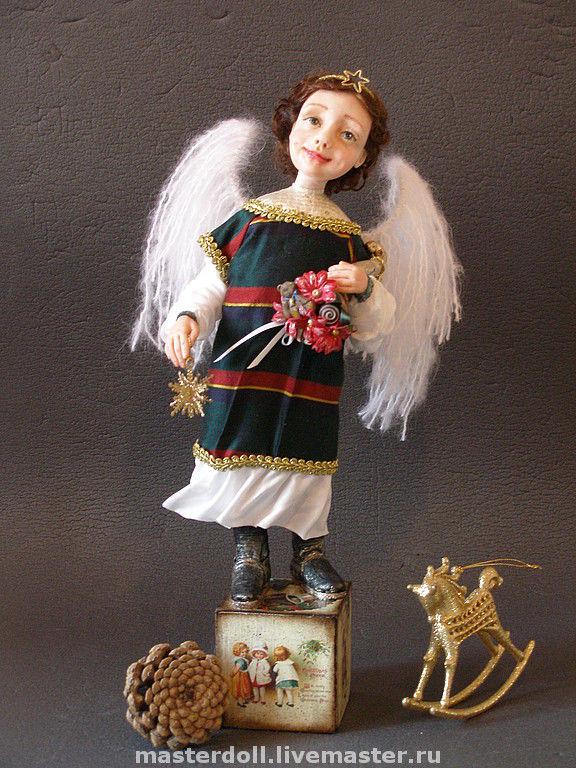 """Авторская Кукла """" Рождественский ангел"""" из полимерной глины, Мягкие игрушки, Москва,  Фото №1"""