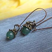 Украшения handmade. Livemaster - original item Jade earrings on long schwenz. Natural stone. Handmade.