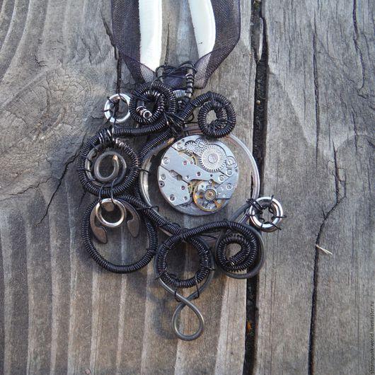 """Кулоны, подвески ручной работы. Ярмарка Мастеров - ручная работа. Купить Подвеска стимпанк  """"Время в разрезе"""". Steampunk. Handmade. Черный"""