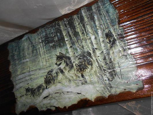 """Животные ручной работы. Ярмарка Мастеров - ручная работа. Купить Картина - панно """"Вышли волки на охоту"""". Handmade. Коричневый, зима"""