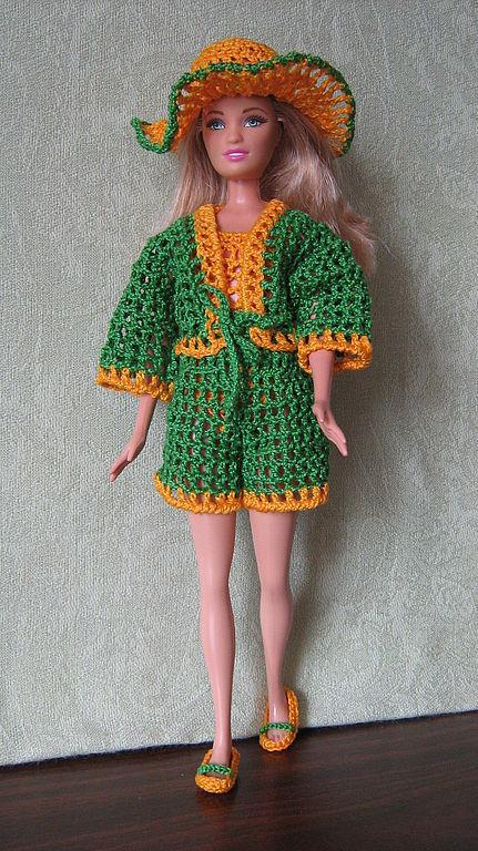 Одежда для кукол ручной работы. Ярмарка Мастеров - ручная работа. Купить пляжный комплект. Handmade. Кукольная одежда, Наряд для барби