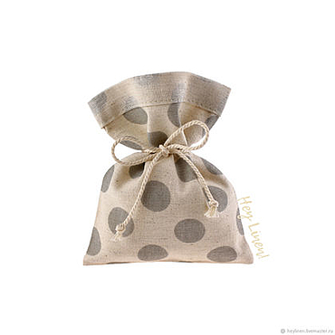Souvenirs and gifts handmade. Livemaster - original item 10h12sm10sht. Bags linen beige in grey polka dots. Handmade.