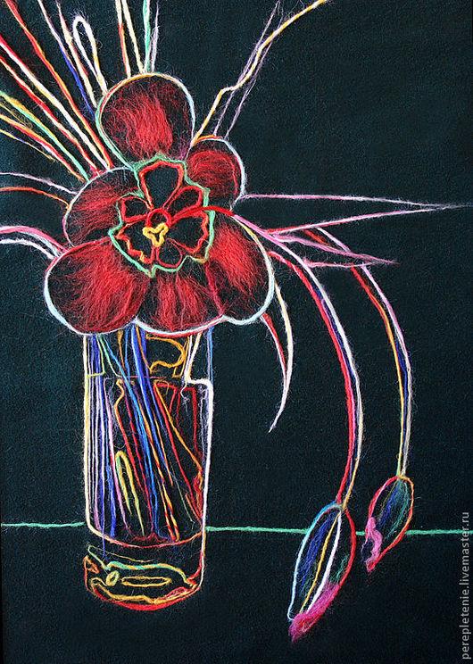 """Натюрморт ручной работы. Ярмарка Мастеров - ручная работа. Купить Картина """"Тюльпаны"""". Handmade. Картина, оформление интерьера, войлок, драп"""
