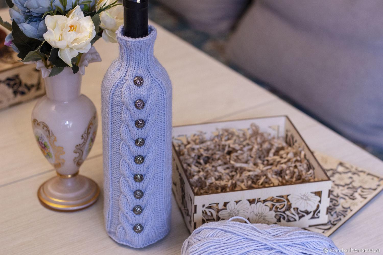 Подарочный набор: вязанный свитер на бутылку и свеча в декоративной, Подарки, Казань, Фото №1