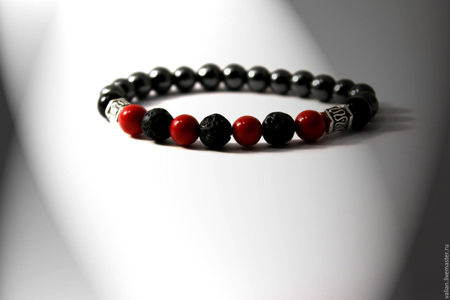 Bracelet Men the power of lava, black agate, coral and hematite, Bead bracelet, Moscow,  Фото №1