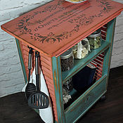 """Для дома и интерьера ручной работы. Ярмарка Мастеров - ручная работа """"cafe France""""сервировочная тумба-островок на колесах. Handmade."""