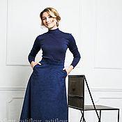 Одежда ручной работы. Ярмарка Мастеров - ручная работа Синяя юбка длинная из искусственной замши премиум качества. Handmade.