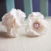 Украшения handmade. Livemaster - original item Set studs White flowers. Handmade.