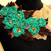 Украшения ручной работы. Ярмарка Мастеров - ручная работа Валяное украшение- воротничок Изумруд. Handmade.