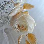 Украшения handmade. Livemaster - original item Silk flowers rose Creme brulee. Handmade.