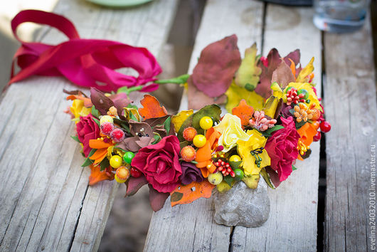 Диадемы, обручи ручной работы. Ярмарка Мастеров - ручная работа. Купить Осенний венок для фотосессии. Handmade. Комбинированный, ободок для девочки