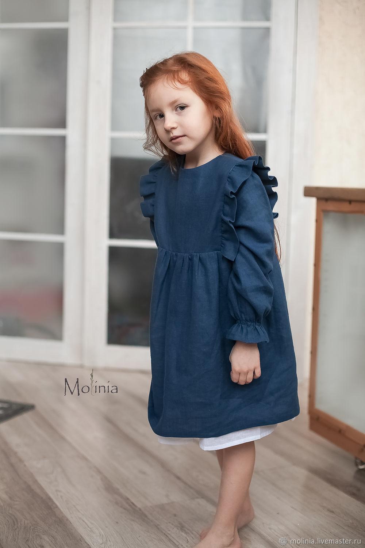 Платье для девочки льняное Амелия синее с воланами, Платье, Калининград,  Фото №1