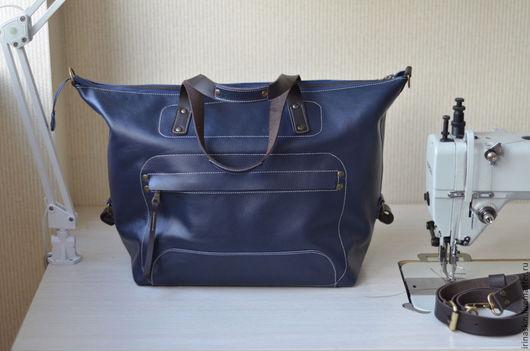 кожаная сумка большая, кожаная сумка дорожная, кожаная сумка темно-синяя, кожаная сумка шоппер, Ирина Болдина