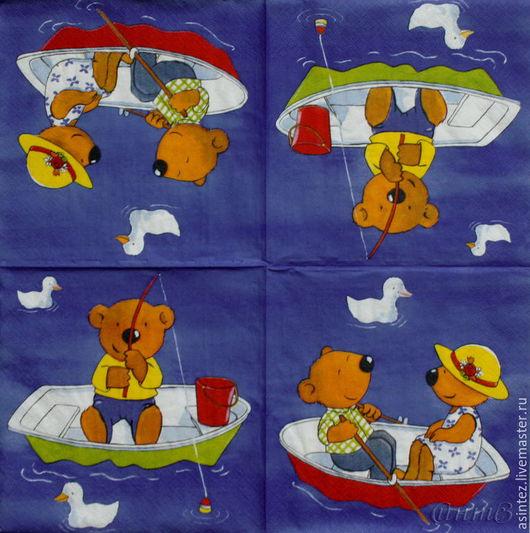 Декупаж и роспись ручной работы. Ярмарка Мастеров - ручная работа. Купить салфетки для декупажа детство мишка рыбачек декупажный принт. Handmade.