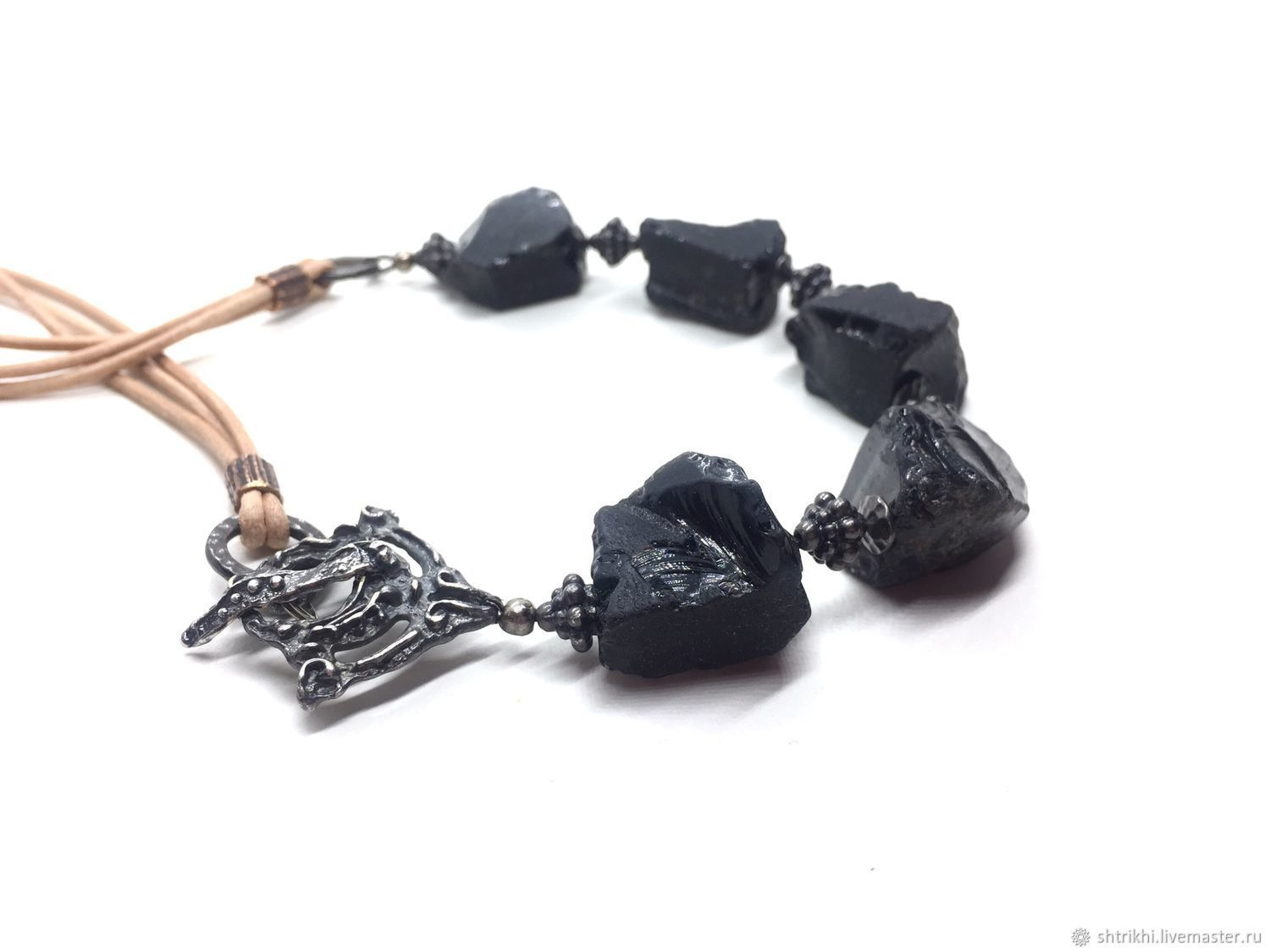 Choker Chernyakina.Obsidian is natural,accessories Anna Black,TierrCast, Necklace, Moscow,  Фото №1