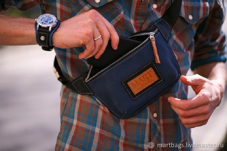 Deep Blue leather waist bag, Waist Bag, St. Petersburg,  Фото №1