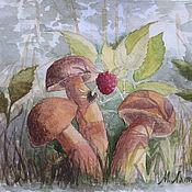 Картины и панно ручной работы. Ярмарка Мастеров - ручная работа Акварель Белые грибы. Handmade.