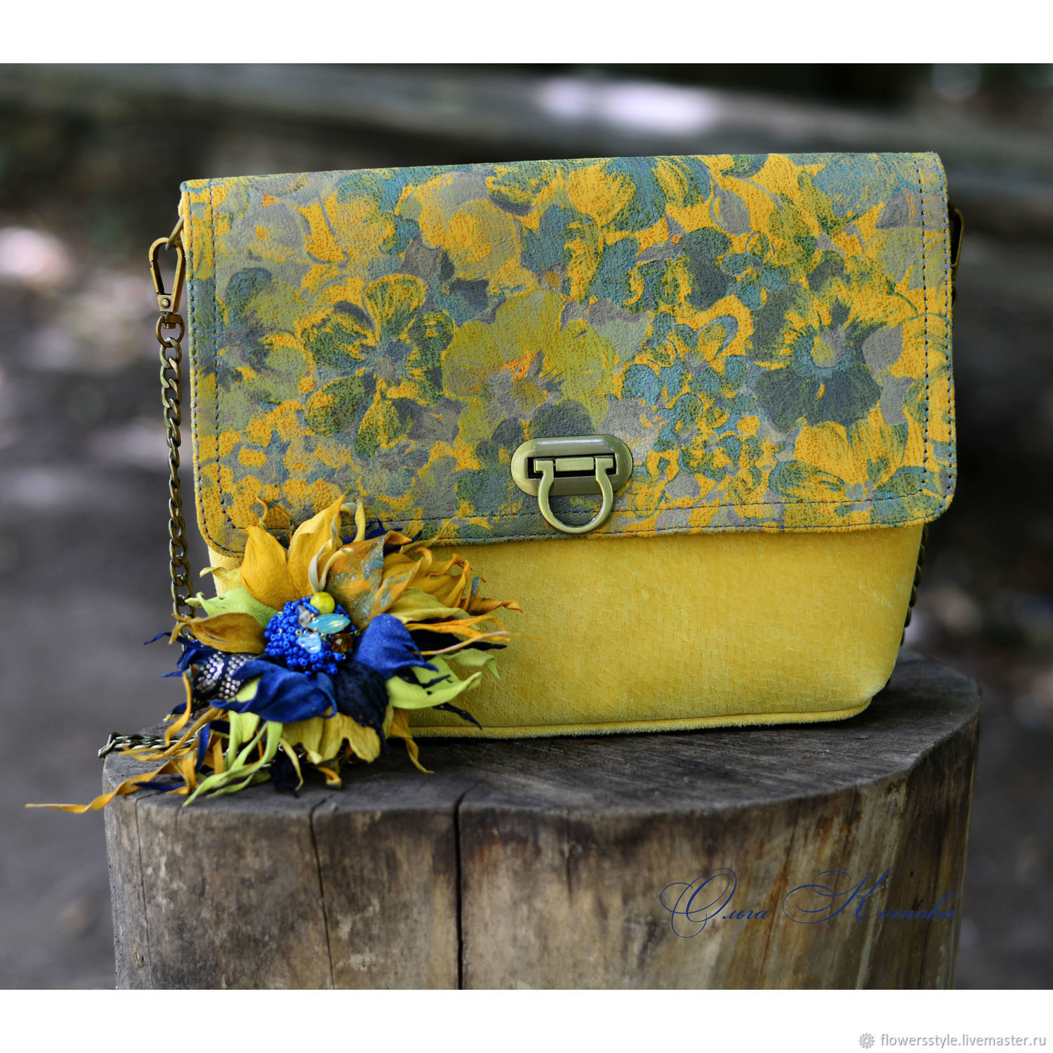 Women's cross-body bag with brooch set of suede mustard, Clasp Bag, Kursk,  Фото №1
