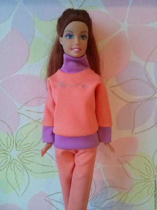 Одежда для кукол ручной работы. Ярмарка Мастеров - ручная работа. Купить Спортивный костюм из трикотажа для Барби.. Handmade. Персиковый