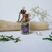 Украшения handmade. Livemaster - original item Transparent Pendant Bottle with Moss and Real Flowers. Handmade.
