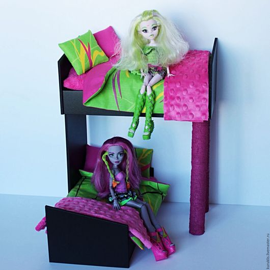 Кукольный дом ручной работы. Ярмарка Мастеров - ручная работа. Купить Двухъярусная кроватка для Monster High, Ever After High и др.. Handmade.