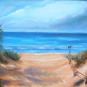 Картины и панно ручной работы. Ярмарка Мастеров - ручная работа Песчаный пляж. Handmade.