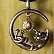 """Кулоны, подвески ручной работы. Ярмарка Мастеров - ручная работа. Купить Кулон """" Весёлый кот"""" из серебра с цитрином и нано изумрудами.. Handmade."""