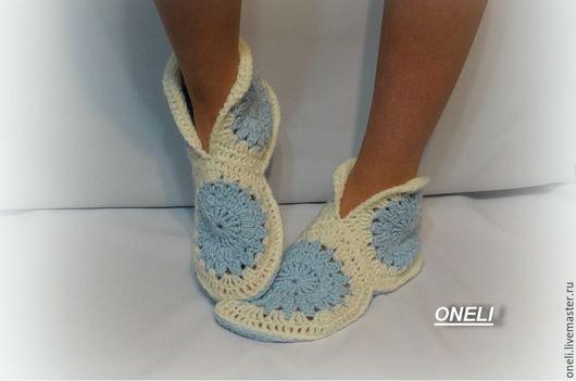 Обувь ручной работы. Ярмарка Мастеров - ручная работа. Купить Домашние тапочки. Handmade. Голубой, тапочки-носочки, купить тапочки
