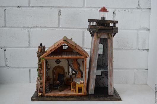 Освещение ручной работы. Ярмарка Мастеров - ручная работа. Купить Хранитель старого маяка.. Handmade. Разноцветный, кукольная миниатюра, маяк