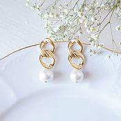 Украшения handmade. Livemaster - original item earrings Chain. Large Chain earrings with Pearls. Handmade.