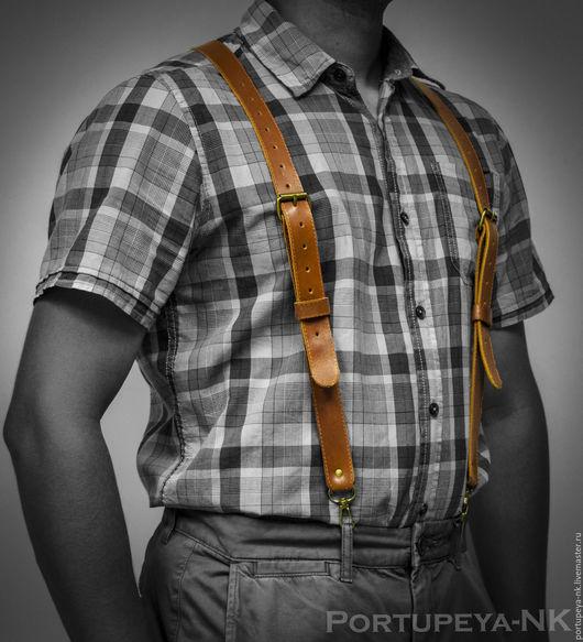 Пояса, ремни ручной работы. Ярмарка Мастеров - ручная работа. Купить Подтяжки мужские кожаные. Мод 1ПМ коньяк. Handmade.